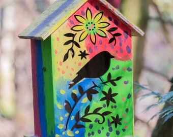 COLORFUL BIRDHOUSE, Bird/Fairy House Photo, Whimsical Photo, Whimsical Wall Art, Bird/Fairy House Decor  - Digital Download Photo/Print