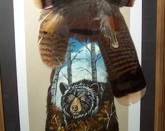 Painted wild turkey tail feather black bear wildlife art