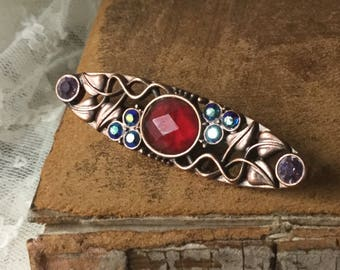 Art Nouveau Styled Rhinestone Studded Bar Pin Brooch Unsigned Pink Copper Finish Swirled Leaves Red Blue Pink Rhinestones 1970's 1980's