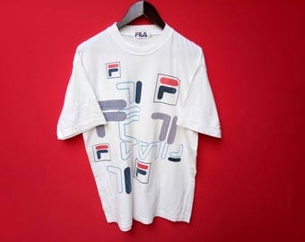 vintage fila casual big logo large size t shirt