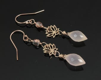 Rose Gold Lotus Flower and Rose Pink Chalcedony Dangle Earrings