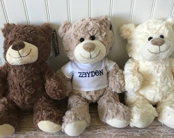 Personalized teddy bear stuffed animal // my first teddy bear plush // Kid's name on the shirt