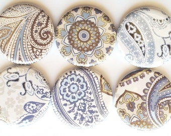 Blue Paisley Magnets, Refrigerator Magnets, Paisley Magnets, Fridge Magnets, Decorative Magnets, Dorm, Office, Kitchen Magnets, Set of 6