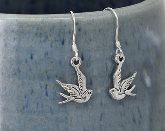 Swallow Earrings, Silver Earrings, Swallow Jewelry, Charm Earrings, Bridesmaid Gift, Gift for Her, Animal Earrings, Dangle, Antique Silver