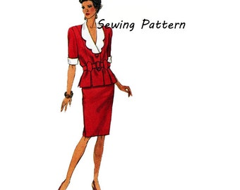 """1990's Butterick 6587 Woman's Suit Dress Top and Skirt in Size 6-10 