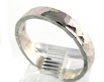 Wide Band Textured Sterling Silver Stacking Ring