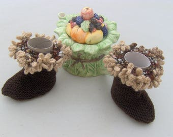 Hand knitted boots Brown 6-12 months baby
