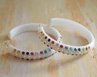 White Hoops with Color and Aurora Borealis Rhinestones | 1980's does 1950's Earrings