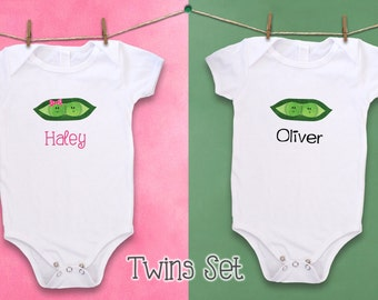 Cute twin bodysuit, Unique baby clothes, Twin bodysuits, Twins clothing, Two Peas in a pod, Pea pod baby shower, Gifts for twins, Pea pod
