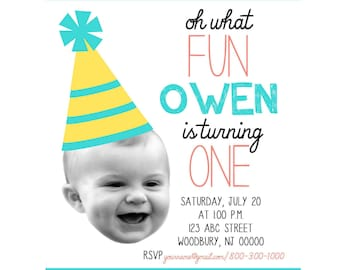 Baby Photo Face and Party Hat First Birthday Party Invitation - Printable Digital File