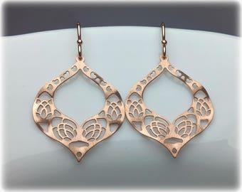 Rose Gold Earrings, Rose Gold Dangle Earrings, Boho Drop Earrings, Moroccan Boho Jewelry, Rose Gold Jewelry, Simple Romantic Earrings