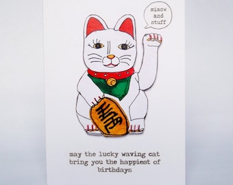 Funny birthday card // lucky waving cat greeting cards // best friend greetings cards