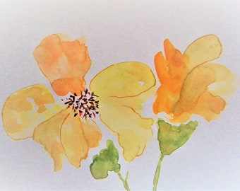 Flower Painting Abstract Painting Watercolor Flowers Floral Painting Original Watercolor Painting Yellow Flowers