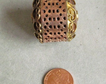Solid Copper and brass hand made bead 28x34mm 2 metals on 1 bead