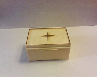 Vintage DENNISON RING BOX Star Design Proposal Engagement Presentation Gift Red Velvet Interior