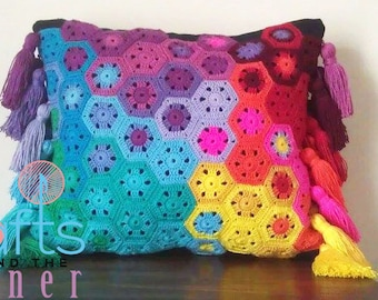 Crochet Hexagon Cushion Pattern - Crochet Cushion Pattern - PDF