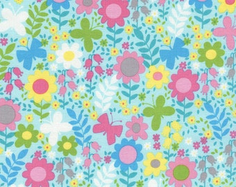 CLEARANCE! Gabrielle Aqua Butterfly Floral Fabric by Tribeca for Timeless Treasures by the half yard Quilt Shop Quality 100% Cotton