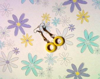 Yellow Hoop Drop Earrings (2271)