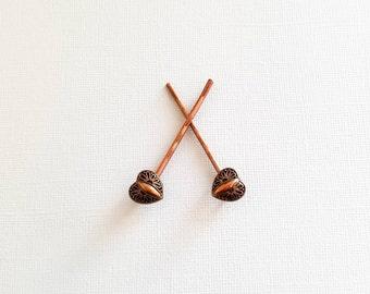 Copper Heart Bobby Pins, Copper Button Bobby Pin, Heart Hair Pin, Valentine Hair Pin, Valentine Hair Clip, Heart Hair Slide, Button Hair Pin