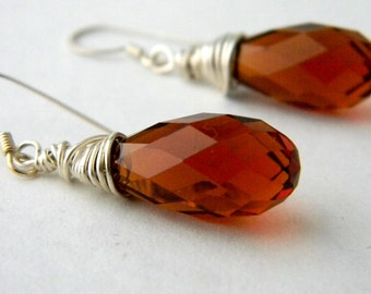 Sterling Silver Amber Drop Earrings Wire Wrapped Glass Earrings Dangle Earrings