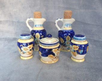 Ceramic hand painted Mediterranean style condiments set, salt, pepper, mustard, oil and vinegar