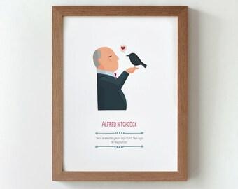 """Ilustración """"Alfred Hitchcock""""."""