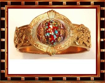 EXOTIC Egyptian dragons egg venetian bracelet vintage victorian jewelry bangle