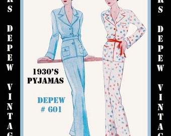 Vintage Sewing Pattern 1930s French Pajamas in Any Size- PLUS Size Included- Depew 601 -INSTANT DOWNLOAD-