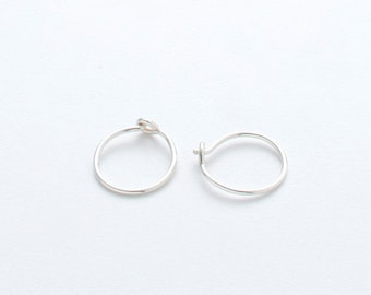 TINY SILVER HOOPS -- sterling silver - small classic hoop