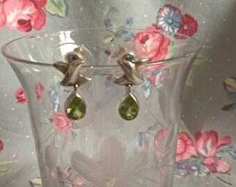Vintage Sterling Silver Peridot Dangle Earrings