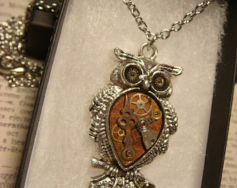 Steampunk Owl Necklace- Made with Real Watch Parts  (2565)
