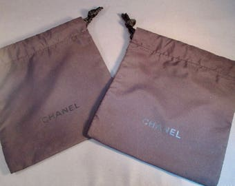 SET of 8 ~ Authentic Chanel Black Drawstring Pouches - Chanel Black on Black Drawstring Pouches - Gift Packaging