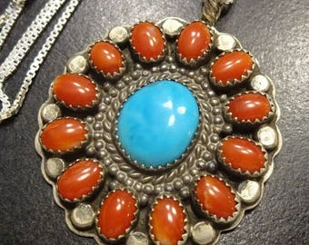 "Vintage NAVAJO Sterling Silver CORAL & Turquoise Cluster PENDANT + 18"" Chain"