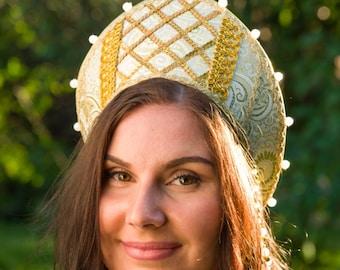 Russian traditional hat Kokoshnik Annushka, Russian crown, Woman headdress, Russian headwear, Russian tiara