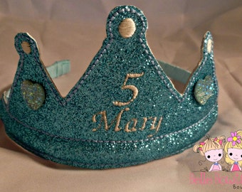 Custom Birthday Princess Glitter Crown