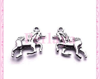Set of 15 charms silver unicorn REF1230X3