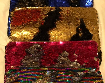 Mermaid - is Two Different Color Contrast Sequin in One Clutch Hangbag, Sequin Purse, Flip Sequins Hangbag, Party Handbag, Sequin Clutch Bag
