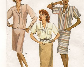 "A Straight Column, Button Front, Drop Waistline, Short/Long Sleeve Dress Sewing Pattern for Women: Uncut- Size 6 Bust 30-12"" • McCall's 9491"