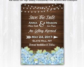 Hydrangea Save The Date Magnet or Card DIY PRINTABLE Blue Hydrangea Wedding Save The Date Magnet with Hydrangeas Blue Floral Save The Date