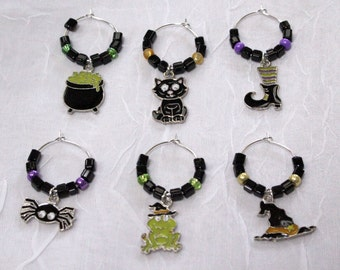 SALE!!  Halloween Witches Wine Charms - Set of 6