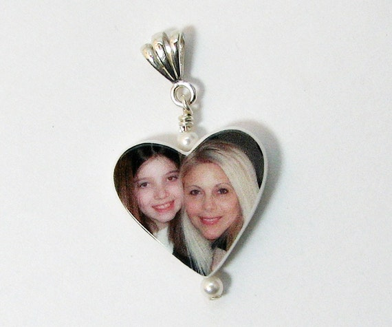 Custom Heart Shaped Photo Pendant with a Fancy Bail - P12F