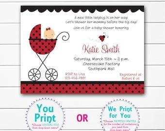 Ladybug Baby shower invitation  -  baby lady bug shower invitaton --  you print or I print
