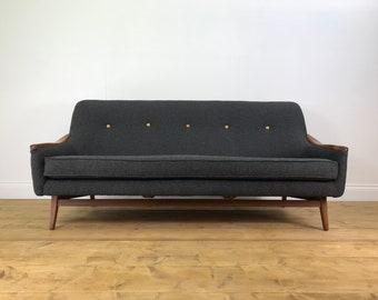 Stunning Newly Upholstered Danish Sofa   Teak Mid Century Retro Vintage  Settee