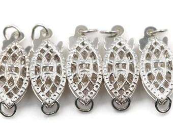 925 Silver  5 pcs Filigree fish Clasp, 6x15x4mm, SKU: 00108712