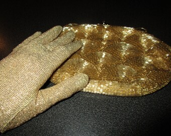Vintage 1960s Bag & Gloves (Gold Beaded Evening Bag /Gold Lurex Gloves)