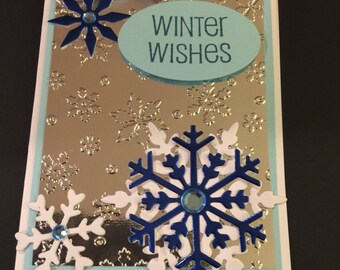 3D winter greeting card - A2 winter wishes card, 3D Christmas card, intricate snowflake card, handmade christmas card, elegant christmas