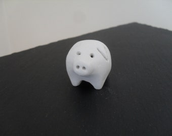 Handmade Adorable Clay Pig Totem. Desk pet.  Ormanent /Decoration. From the White Collection, a smaller 'Piglet' is also available.