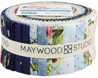 Roses on the Vine 40 pre cut Jelly Roll Strips fabric quilt Maywood Studio
