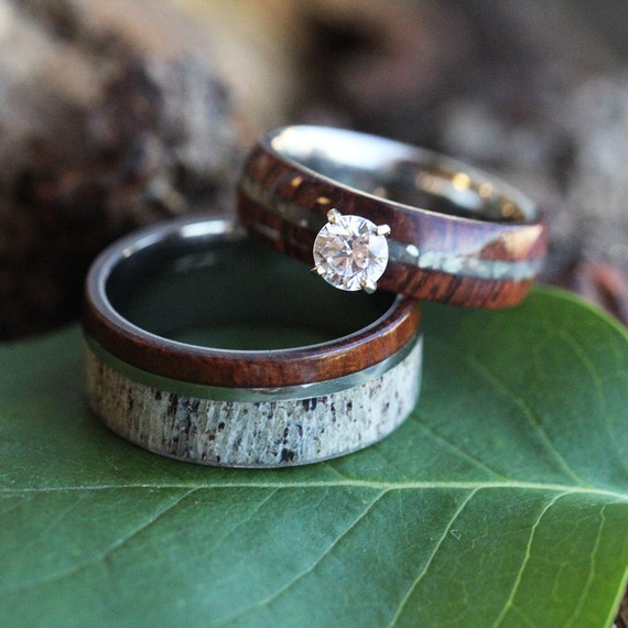 country wedding ring sets wood wedding ring set rustic bridal set in ironwood and 3133