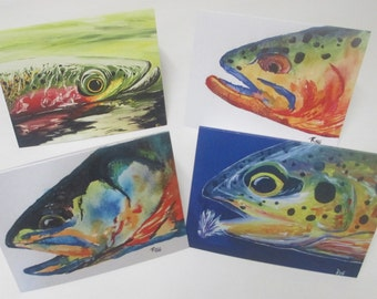 "4 Pack Catch and Release Trout Cards- Blank inside 5.5"" x 4.25"""